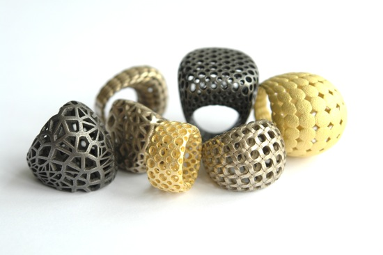 steel, brass, bronze, silver 3d printed rings