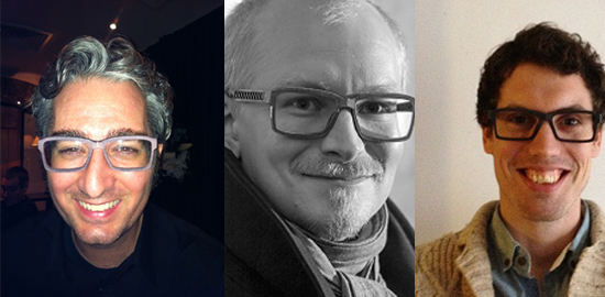From left to right: Bre Pettis with Pekka's glasses, the master himself and Anne-Pieter with his glasses