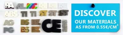 Check out our 16 materials: starting from 0.55 euro per cm3