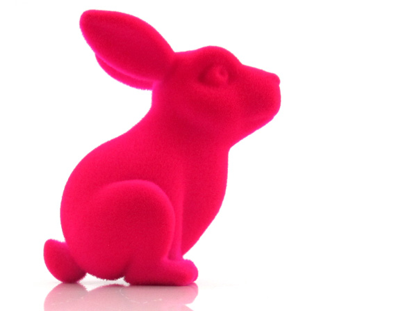 A pink bunny with velvet finish