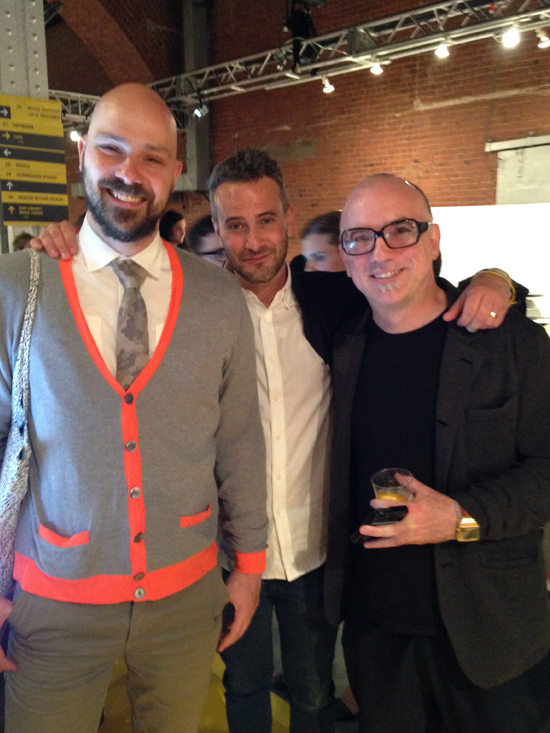 Some well known designers at the Nooka booth at opening night. From left to right: Jan Habraken (formnation), Joe Doucet and Matthew Waldman (owner of Nooka).