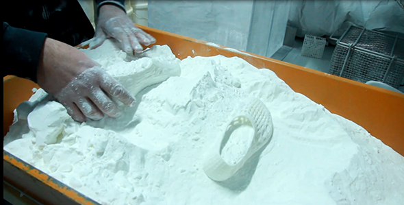 "Rubber like is produced with ""powder-based"" 3D printers"