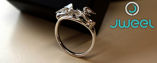 A metal ring created and printed with JWEEL.