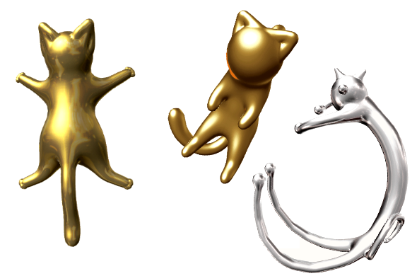 Various Cat Designs Made on JWEEL. The gold cats on the right were designed by Par Angelola. The silver cat at left is by Par Herve.