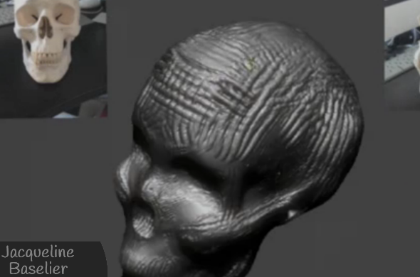 "A screenshot of Jacqueline Baselier sculpting ""Calmness of Mind."" Click on the image to view the video!"