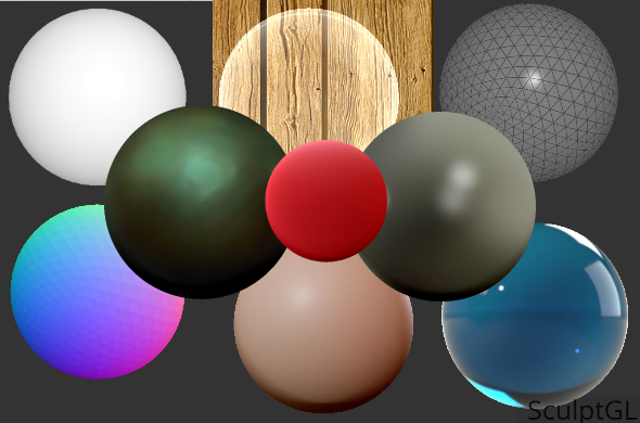 A screenshot of some of the shaders from Sculpt GL, a software by University of Montréal's Stephane Ginier.