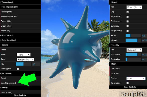 "Upload your own background image into SculptGL via the ""Background"" menu. How do you like my spiky waterdrop?"
