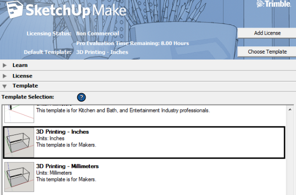 Screenshot of SketchUp's templates for 3d printing