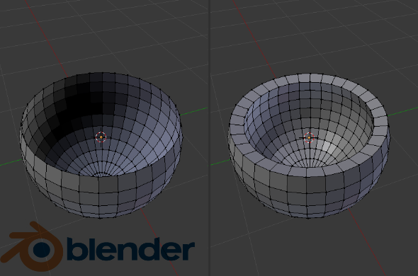 Blender 3D Sculpting Example: Solidify of a half sphere becoming a solid shape. Wall thickness was added to a piece with no wall thickness.