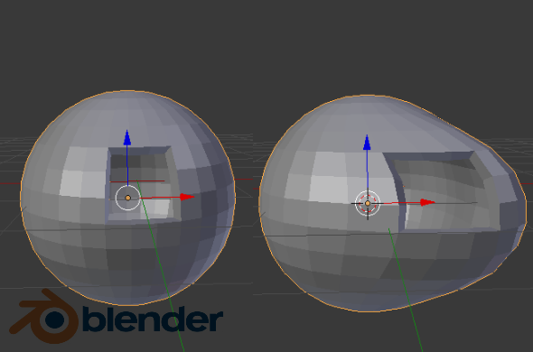 Blender 3D Sculpting Example: Sphere Stretched