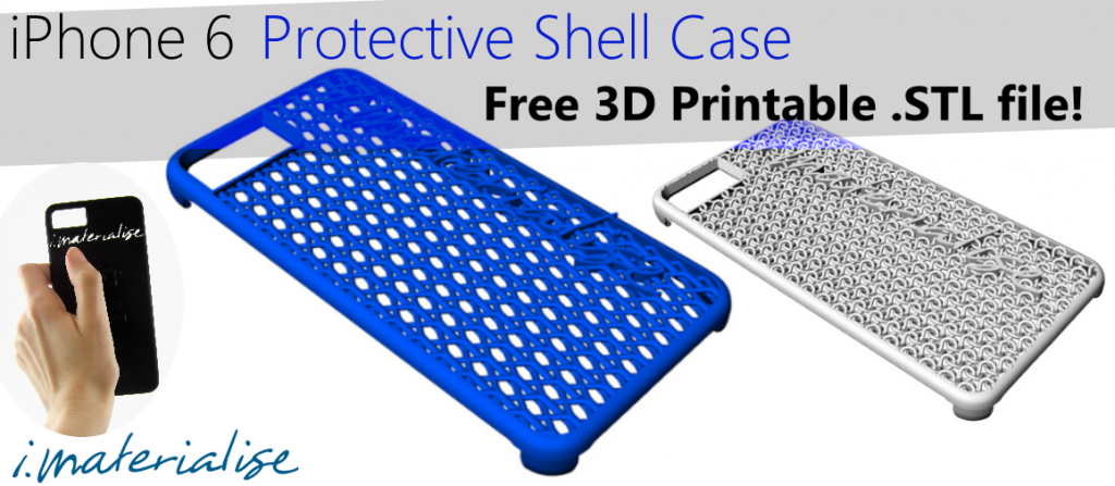 Free iphone6 3D printable .STL file header image. This header is for our article about our free downloadable custom iPhone 6 protective shell casing! The article features the Goalie Version, Chainmail Armor version, and Bicycle Mount version.