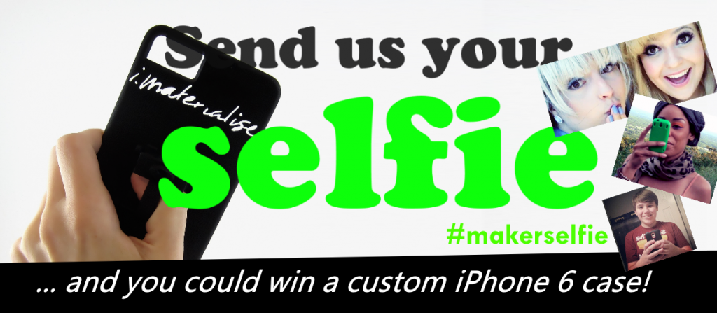 iPhone 6 Maker Selfie Campaign header image showing selfies at right and a hand holding our black polyamide bicycle cover at right