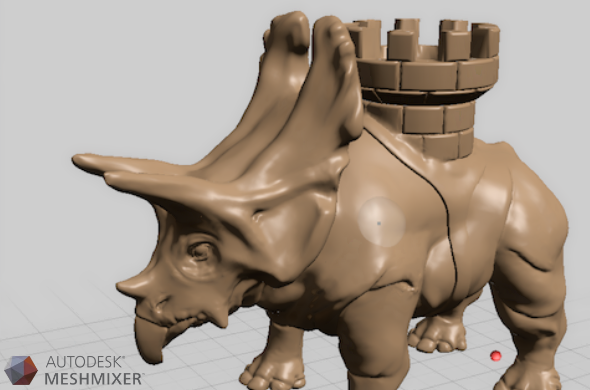 A brown dinosaur sculpt made on Autodesk Meshmixer
