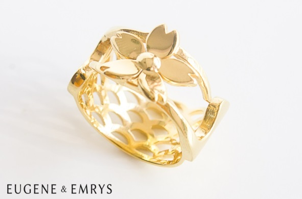 Brass is antibacterial, which is a useful quality to have in a ring. This ornate piece is Floating Sakura by Eugene & Emrys.