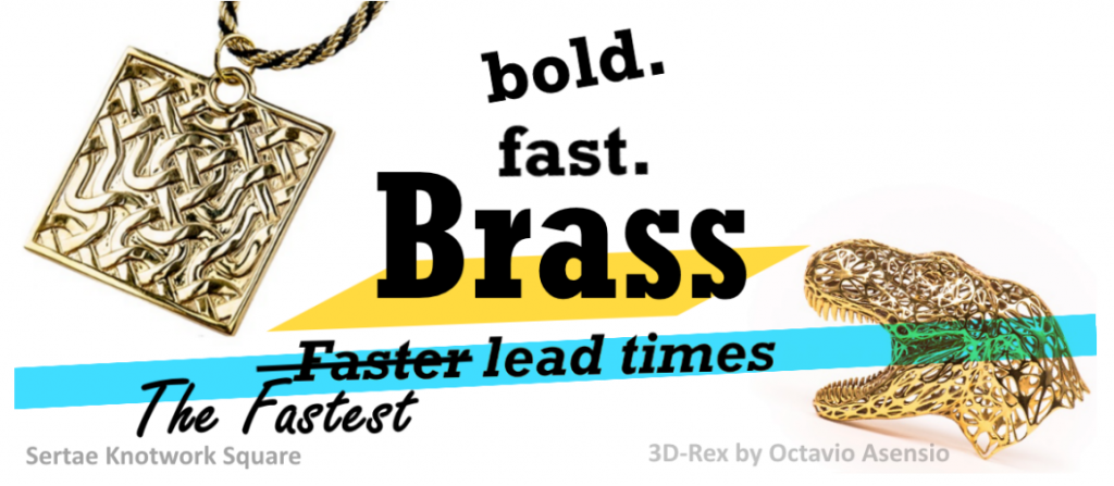 The header image for a post announcing lead times of i.materialise's brass material. It features a brass pendant and tyrannosaurus rex.
