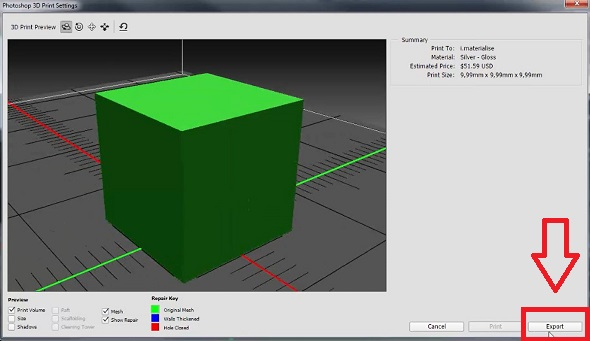 export stl file for 3d printing in photoshop