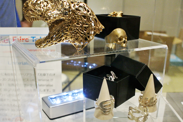 Brass and silver items at the i.materialise booth