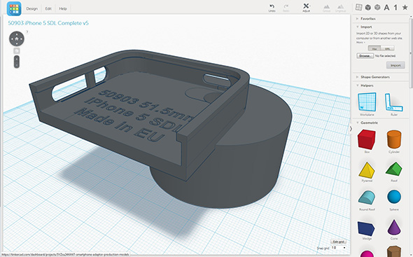Designed in Autodesk Tinkercad