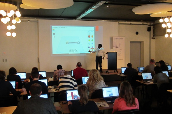 In our Tinkercad workshop, instructor Deepak is teaching how to get started with 3D modeling.