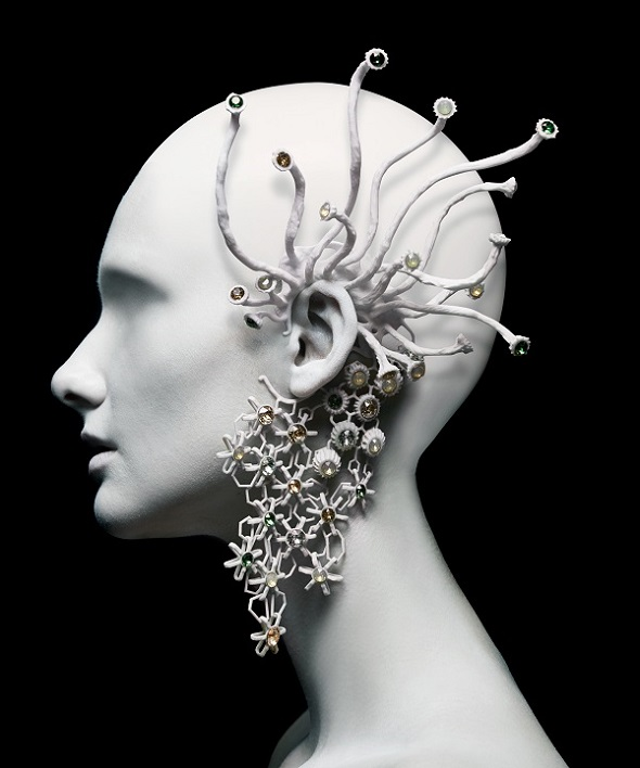 "3d printed fashion: Whisper To Me from Melinda Looi's collection entitled ""Gems of the Ocean""."