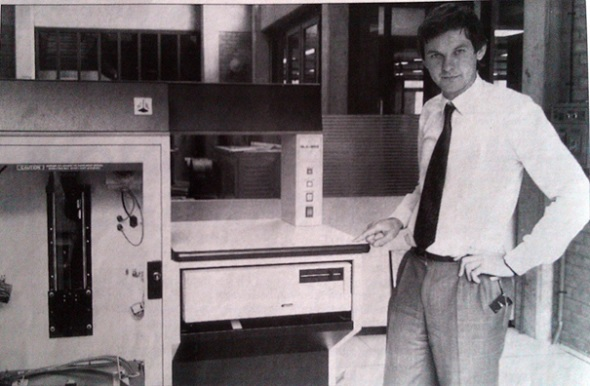 Fried Vancraen, CEO of Materialise with one of the earliest 3D printers.