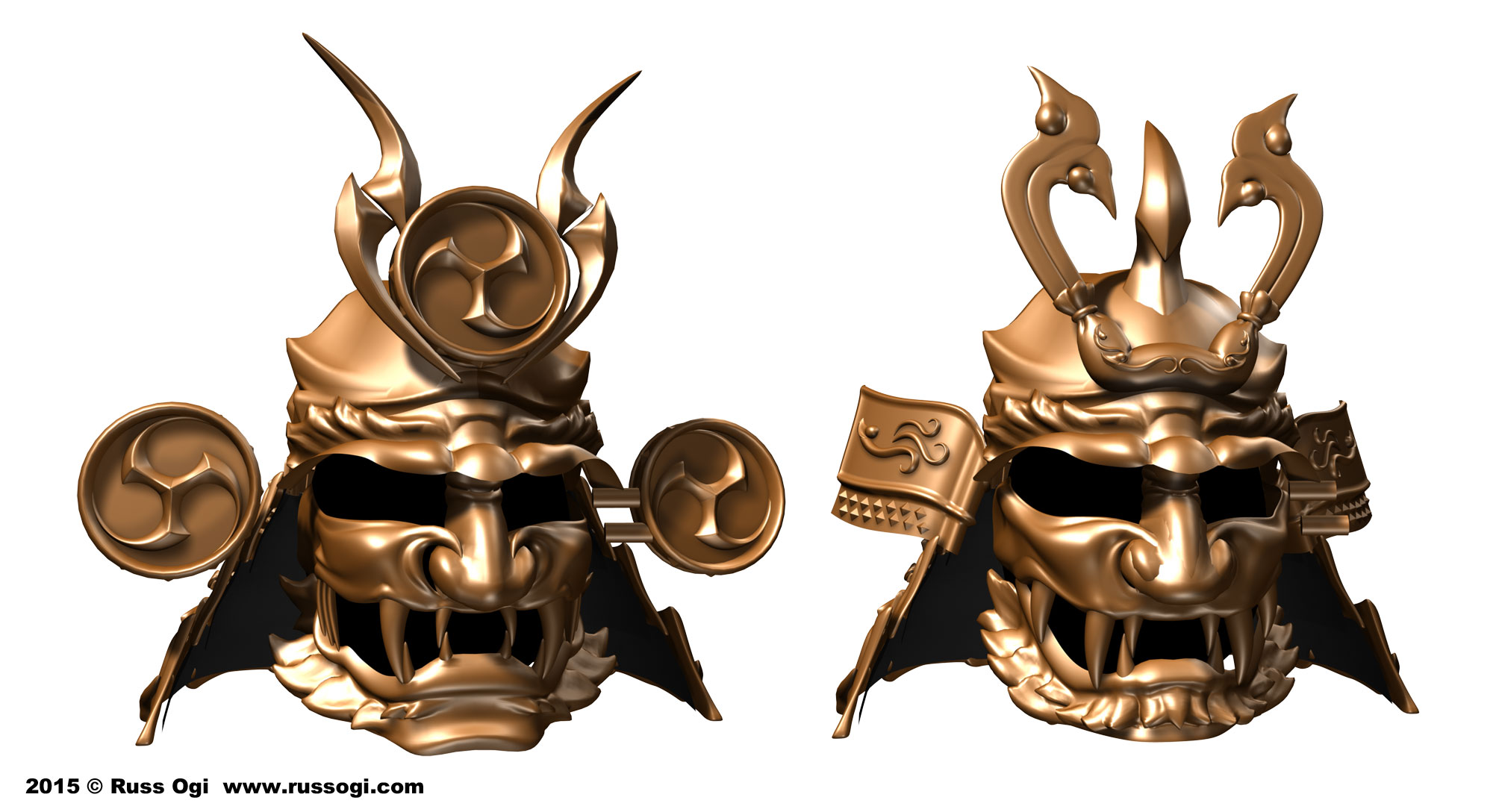 Left: Raijin Kabuto, Right: Fujin Kabuto by Russ Ogi