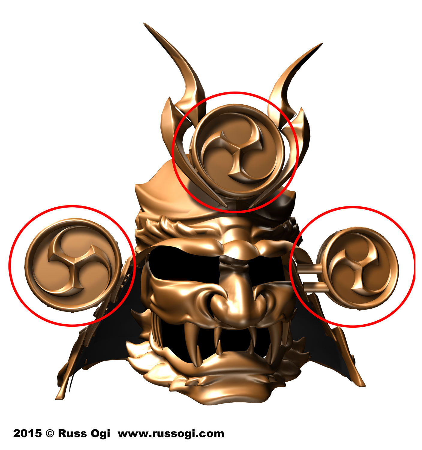 Raijin's drums are incorporated into the maedate (front crest) and fukigaeshi (ear-like wings) .