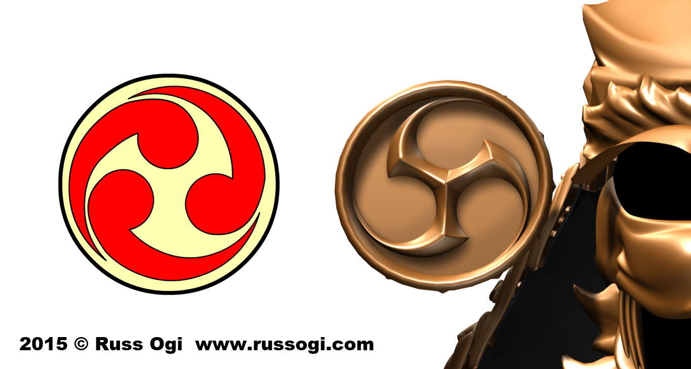 "The tomoe ""comma"" shapes are now formed by the negative space left by the triskelion."