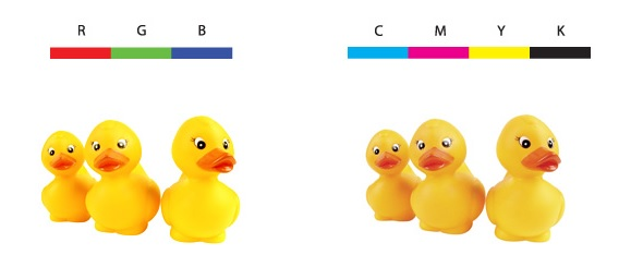 The different color models of RGB screens and CMYK printers. Image from tecnoarena.net.