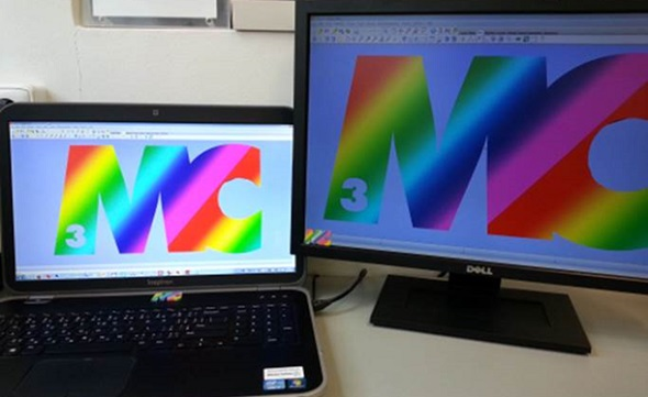 Example of two monitors with two very different color and brightness settings.