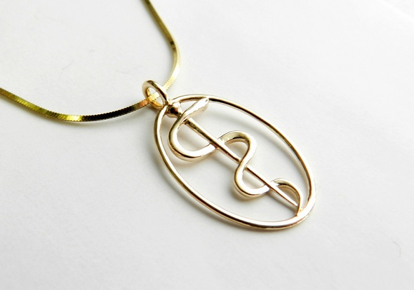 Rod of Asclepius Pendant Mini by Marcus Ritland. Printed in 14k yellow gold.