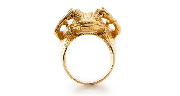 Frog Ring by Peter Donders - created in gold plated brass.