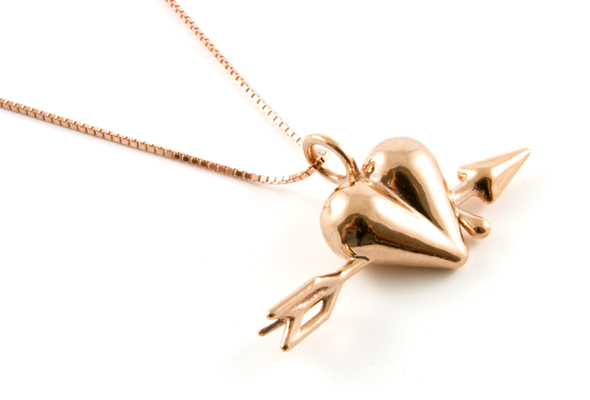 Arrow Heart Pendant by JWEEL in Red Gold Plated Brass