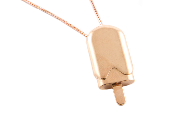 Ice Cream Pendant by Bert de Niel in Red Gold Plated Brass