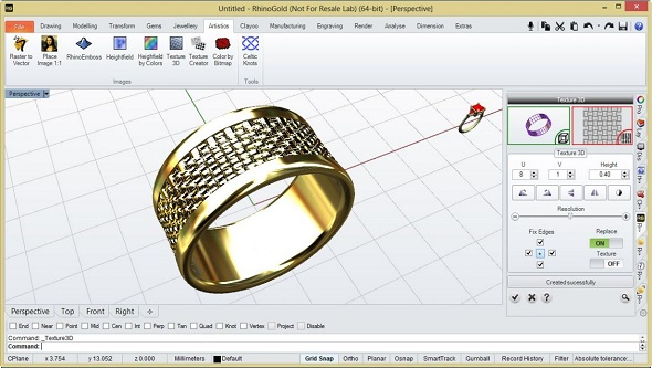 3d printed ring with pattern