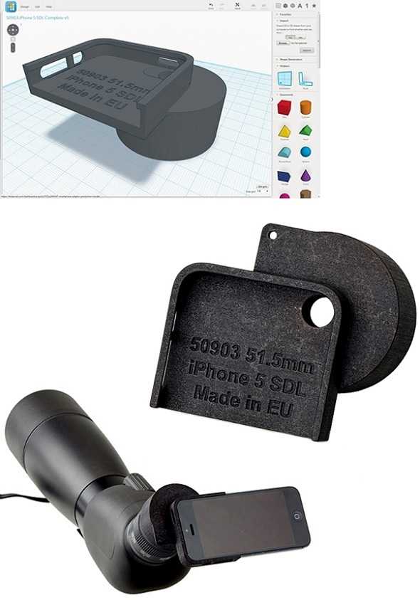 A 3D printed iPhone adapter for a telescope