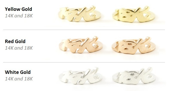 Our three gold color options: yellow gold, red gold, and our updated white gold.