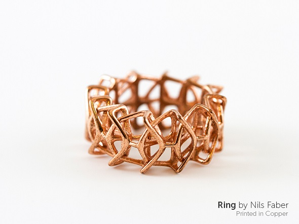 a ring printed on a copper 3d printer