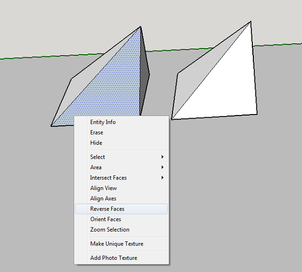 reverse inverted faces normals in sketchup