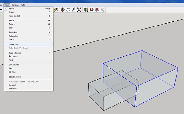 outer shell tools in sketchup