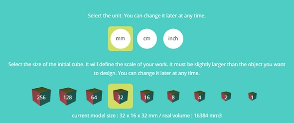 3DSlash lets you easily choose dimensions and sizes.