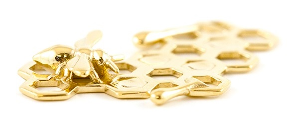 18k gold 3D print of the 'Honey Bee Charm' by Elizabeth Landis