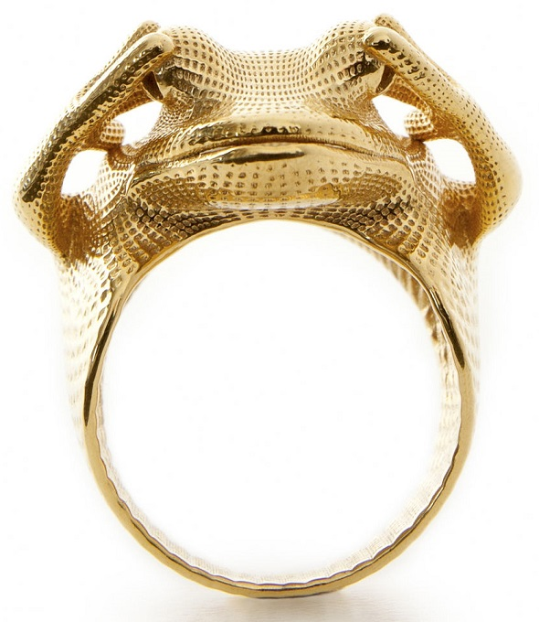 Gold plated brass 3D print of the 'Frog Ring' by Peter Donders.
