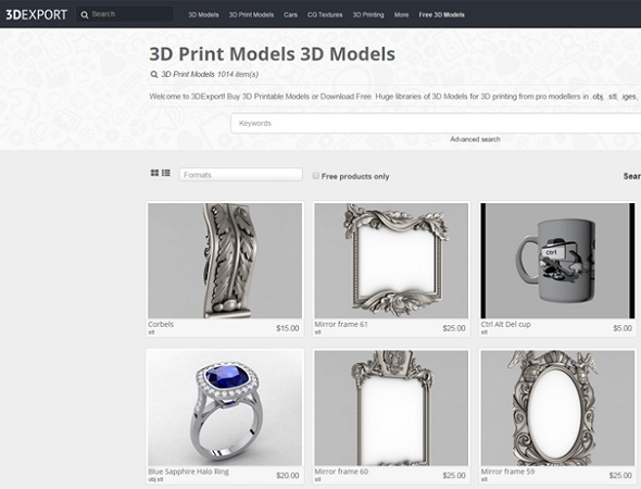 3D Export is a 3D model database for premium designs.