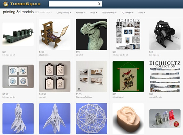 Premium, high-end 3D designs can be downloaded on TurboSquid.
