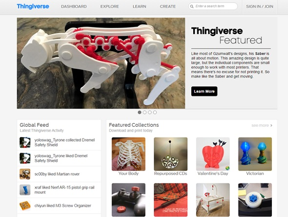 One of the most popular places to get 3D models: Thingiverse.