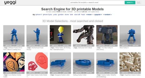 Yeggi, the search engine for 3D models.