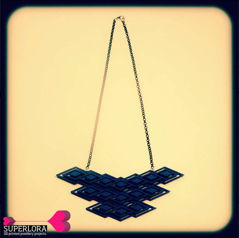 The Rhomboid Necklace 3D printed jewelry by Superlora