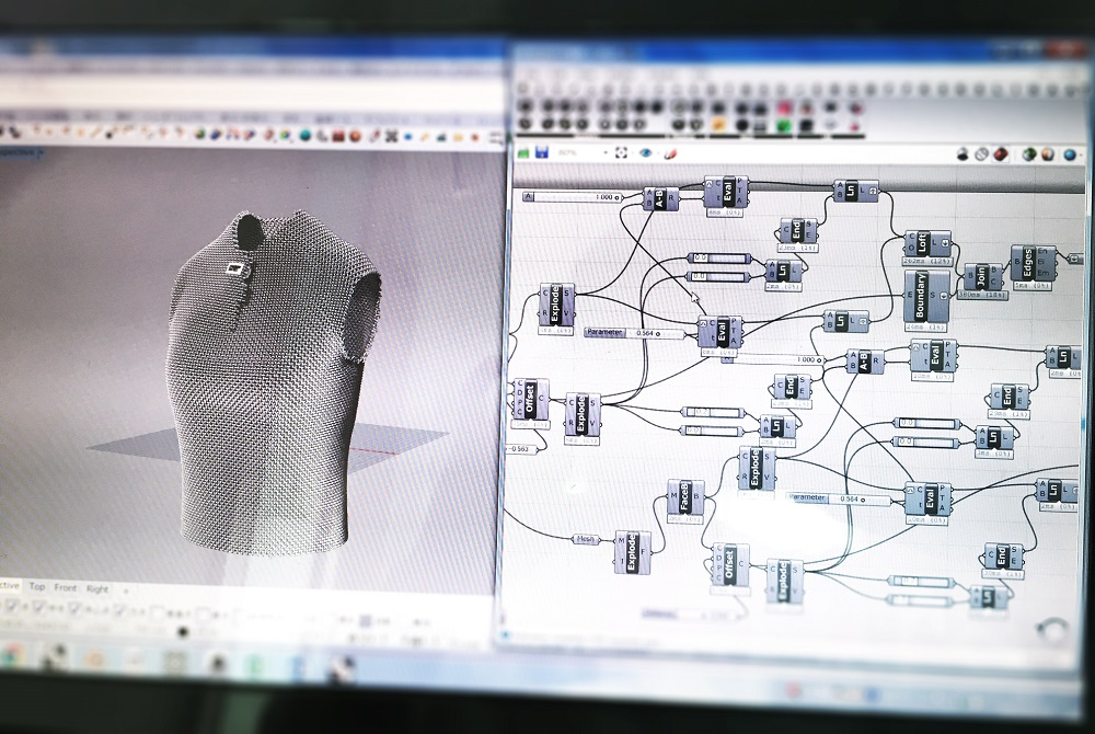 3D modeling process of the AMIMONO vest