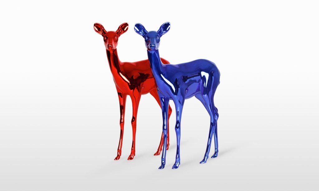 Large-Scale 3D Printed Neon Deer by Visual Artist Paco Raphael